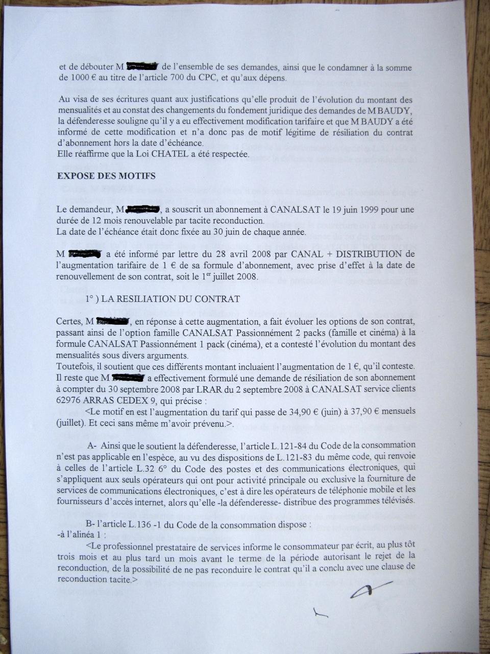 lettre resiliation canal plus motif legitime